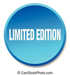 limited edition blue round flat isolated push button