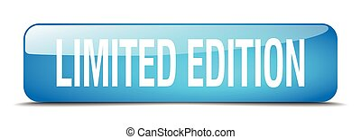limited edition blue square 3d realistic isolated web button