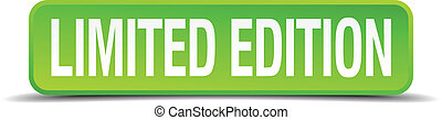 limited edition green 3d realistic square isolated button