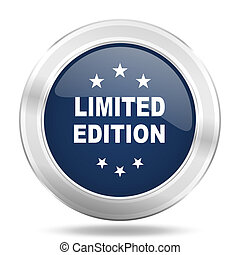 limited edition icon, dark blue round metallic internet button, web and mobile app illustration