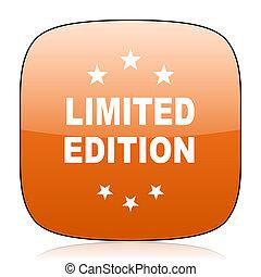 limited edition orange square web design glossy icon