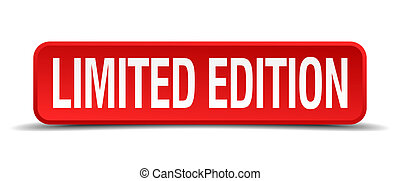 limited edition red 3d square button isolated on white
