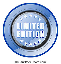 Limited edition round blue glossy web design icon isolated on white background