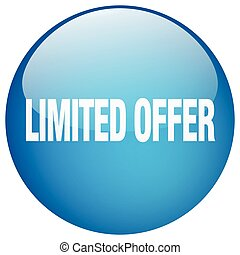 limited offer blue round gel isolated push button
