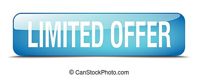 limited offer blue square 3d realistic isolated web button