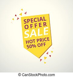 Limited Offer Mega Sale banner. Sale poster. Big sale, special offer, discounts, 50% off. Vector illustration.
