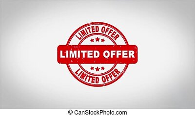 Limited Offer Signed Stamping Text Wooden Stamp Animation. Red Ink on Clean White Paper Surface Background with Green matte Background Included.