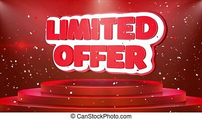 Limited Offer Text Animation Stage Podium Confetti Loop...