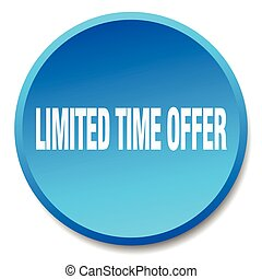 limited time offer blue round flat isolated push button