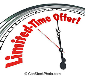 Limited Time Offer words on a clock as a countdown showing the deadline for a special savings event or sale at a store or retailer