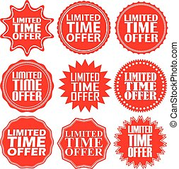 Limited time offer red label. Limited time offer red sign. Limited time offer red banner. Vector illustration