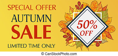 Limited time only autumn sale banner horizontal, cartoon style