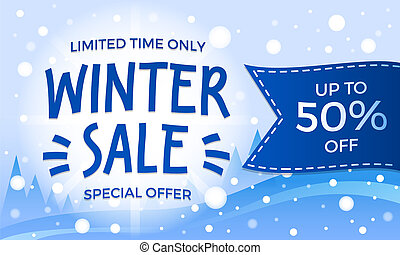 Limited time winter sale banner, isometric style