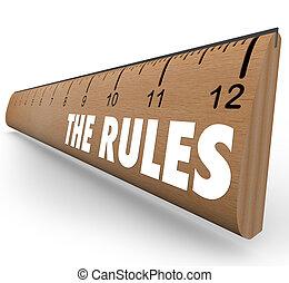 limites, regras, régua, diretrizes, regulamentos, leis