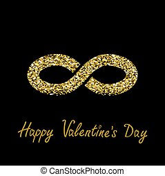 Limitless red sign with heart symbol. Infinity icon. Happy Valentines Day. Flat design. Gold sparkles glitter texture Black background.