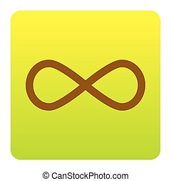 Limitless symbol illustration. Vector. Brown icon at green-yellow gradient square with rounded corners on white background. Isolated.