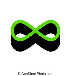 Limitless symbol illustration. Vector. Green 3d icon with...