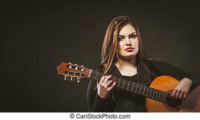 limitou, menina, guitar., segurando