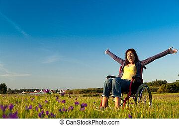 limitou, mulher, ligado, cadeira rodas