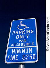 Limitou, só, estacionamento, sinal