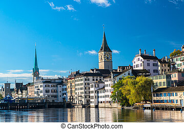 famous Zurich old city - Limmat river and famous Zurich old ...