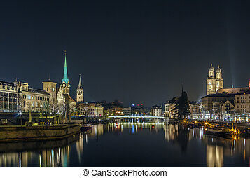 Limmat river in evening, Zurich - Limmat river with view of ...