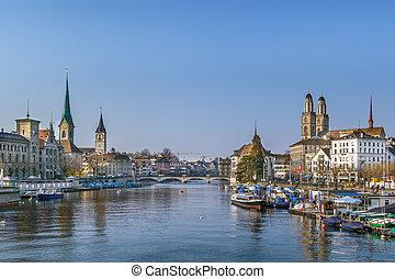 Limmat river in Zurich, Switzerland - Limmat river with view...