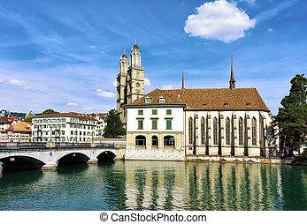 Limmat River Quay with Grossmunster Church and Wasserkirche in Zurich