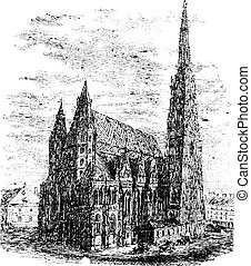 Limoges Cathedral, in Haute-Vienne, Limousin, France, vintage engraving
