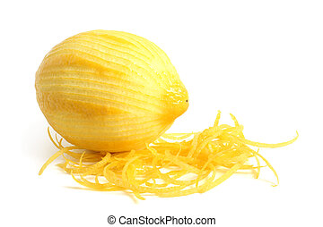 Limon with rind on white background