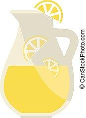 limonada, tarro, vector, illustration.