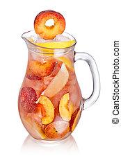 limonade, cruche, pêche