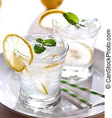 limonade, mit, eis, und, minze