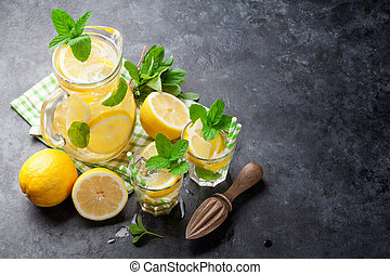 limonade, mit, zitrone, minze, und, eis