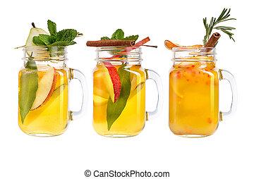 limonade, trois, rafraîchissements, arrière-plan., berries., fruits, blanc