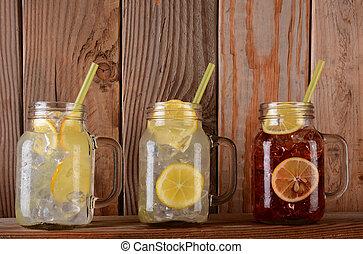 limonata, e, succo frutta, occhiali, mensola