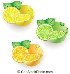limone, arancia, calce