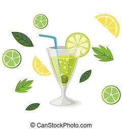 limone, cocktail, immagine, bevanda, vettore, fondo, margarita