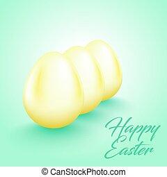 limone, colorare, uova pasqua, text., tre, giallo, augurio, fondo., luminoso, lucido, luce, fresco, felice, menta, uovo, scheda, fila