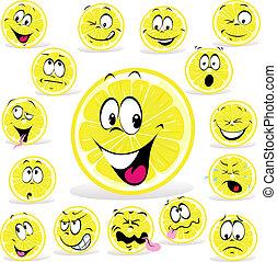 limone, espressioni, cartone animato, molti