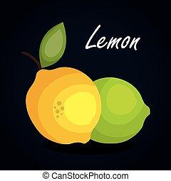 limone, frutta, disegno, icona