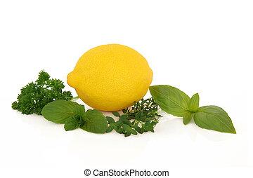 limone, frutta, e, erbe