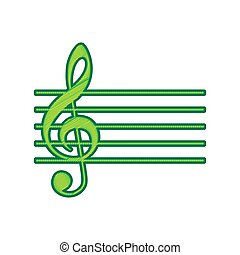 limone, g-clef., segno., isolato, fondo., chiave, musica, vector., violino, bianco, scarabocchio, icona