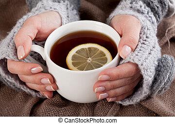 limone, giorno, freddo, tè