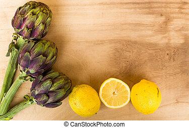 limone, legno, carciofi, rustico, cotto, fondo, sale