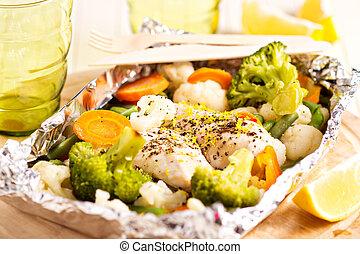 limone, pollo, con, verdura, cotto, in, lamina