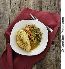 limone, pollo, con, verdura