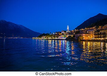 Limone sul Garda at night. Town and comune in the province...