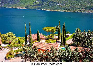Limone sul Garda idyllic lake waterfront view, Lombardy...