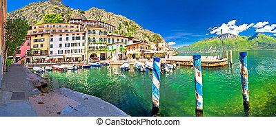 Limone sul Garda turquoise harbor panoramic view, town on...